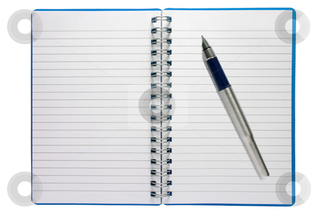 A small spiral notepad and fountain pen. stock photo, A small spiral notepad and fountain pen. by Stephen Rees