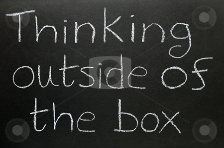 Thinking outside the box stock photo, Thinking outside of the box written on a blackboard. by Stephen Rees