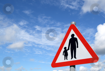 Pedestrians in road sign and a big blue sky. stock photo, Pedestrians in road sign and a big blue sky. by Stephen Rees