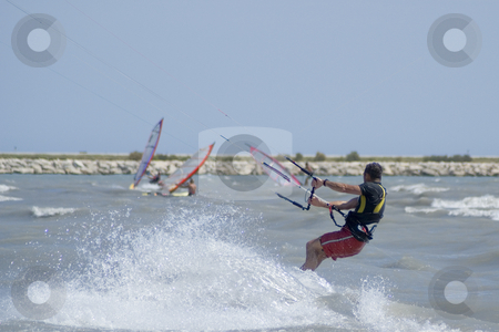 Kite Boarder stock photo, Kite-boarder during a windy day in French Riviera by Serge VILLA