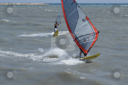Windboarder stock photo, Windboarder during a windy day in French Riviera by Serge VILLA
