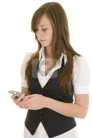 Young business lady with mobile phone stock photo, Young lady dressed in black and white business attire isolated on a white background, talking on a mobile phone. by Nicolaas Traut