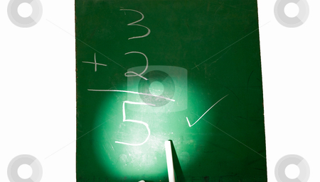 Chalk Board Highlighted stock photo, Green Chalk Board with math problem and answer highlighted by Robert Cabrera
