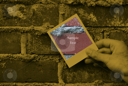 Grunge Brick Work stock photo, Closeup view of someone holding a polaroid against some bricks by Richard Nelson
