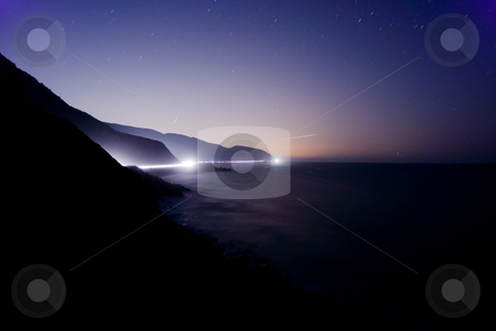 Starry Night over Malibu Coast stock photo, Midnight on the North Malibu coastline. by Peter Bruenner