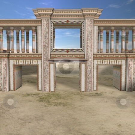Egyptian Background with Palace stock photo, 3D Render of an Egyptian Background with Palace by Andreas Meyer