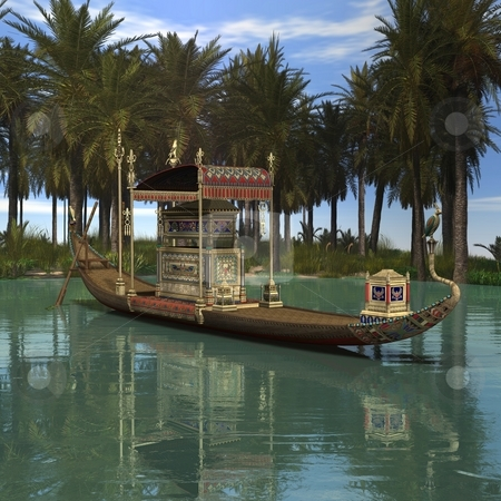 Egyptian Background with Barge stock photo, 3D Render of an Egyptian Background with Barge by Andreas Meyer