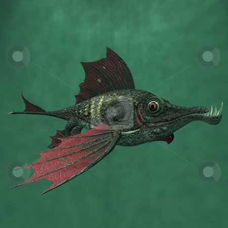 Fantasy Dragon Fish stock photo, 3D Render of an Fantasy Dragon Fish by Andreas Meyer
