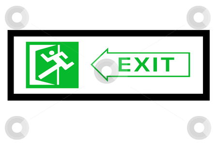 Exit sign stock photo, Emergency exit sign with man and door figure by Jonas Marcos San Luis