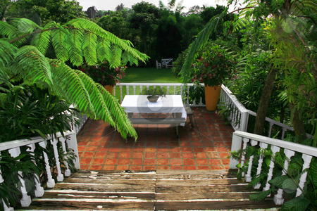 Garden stairway stock photo, Stairways leading to a beautiful garden by Jonas Marcos San Luis