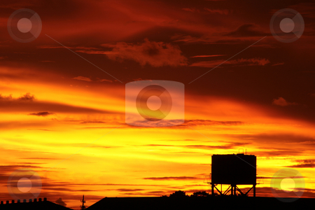 Dramatic red sunset stock photo, Dramatic skies and silhouettes on red sunset by Jonas Marcos San Luis