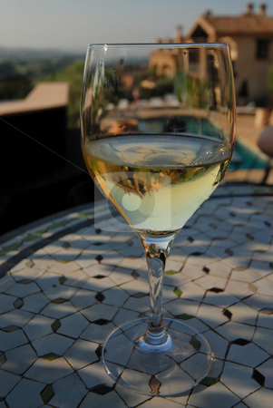 White wine  stock photo, Chilled glass of white wine by Gady Cojocaru