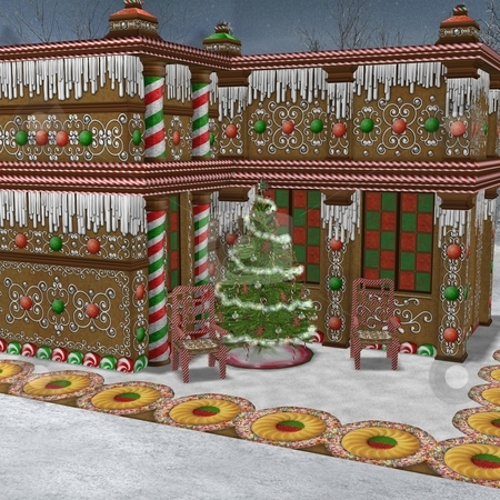 Gingerbread House stock photo, 3D Render of an Gingerbread House by Andreas Meyer