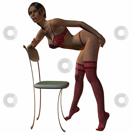 Girl on the chair stock photo, 3D Render of an Girl on the chair by Andreas Meyer