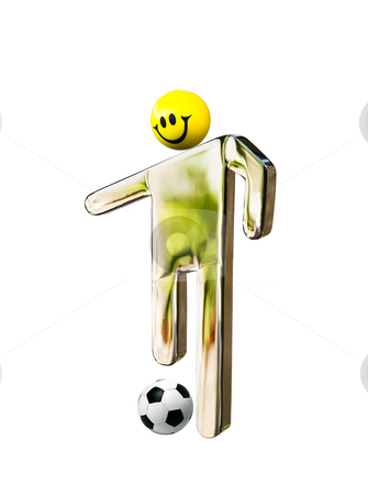 Stainless smiley footballer stock photo,  by Sinisa Botas