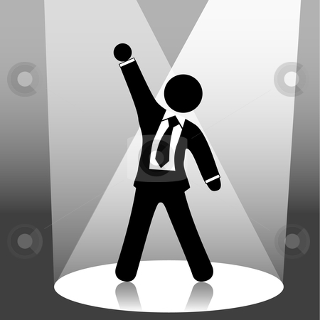 Business man symbol raises fist celebration on stage in spotligh stock vector clipart, A business man symbol raises his fist in celebration of success on stage in a spotlight. by Michael Brown