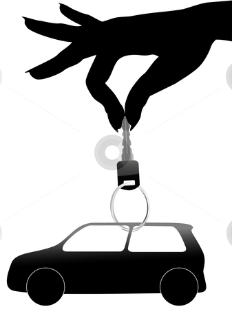 Woman hand holds a key and car on a ring stock vector clipart, A woman holds in her hand a set of auto symbol and car key on a shiny key ring. by Michael Brown