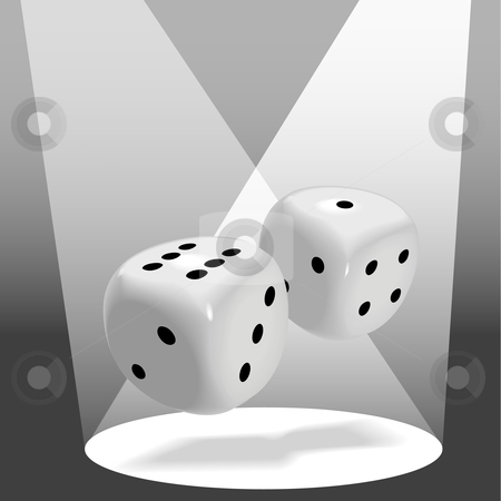 Pair of Fat Shiny Dice Roll a Lucky Seven in Spotlight stock vector clipart, A pair of fat shiny dice roll a lucky seven in a spotlight on stage, good luck to win a gambling game. by Michael Brown