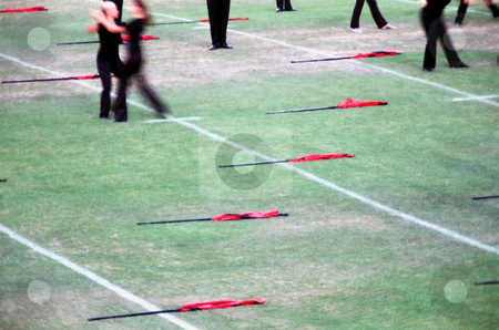Field flags stock photo, Colorguard flags on the field during a drum corps show by Rob Wright