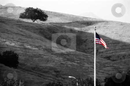 American flag recolored stock photo, A grayscale conversion, recolorizing the American flag amid rolling hills in the background by Rob Wright