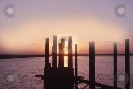 Sunset stock photo, Water sunset lake frodsham by Ray Roscoe