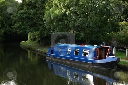 Blue Narrowboat stock photo, Bridgewater Canal Lymm by Ray Roscoe