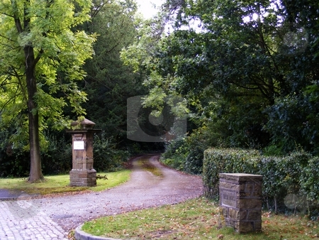 Mystery Entrance stock photo, Driveway leading to country manor by Ray Roscoe