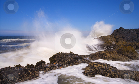 Explosive Sea stock photo, Wave crashing upon the rocks near Seal Beach along the Oregon Coast by Mike Dawson