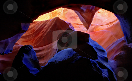 Illumination Chamber stock photo, The sandstone curves and lines of a small slice of Antelope Canyon in Northern Arizona. by Mike Dawson