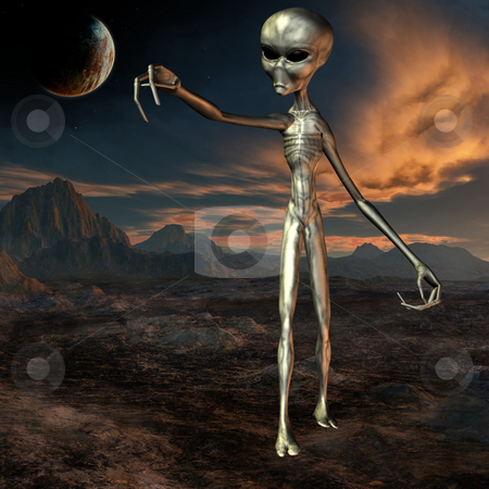 Alien stock photo, 3D Render of an Alien by Andreas Meyer