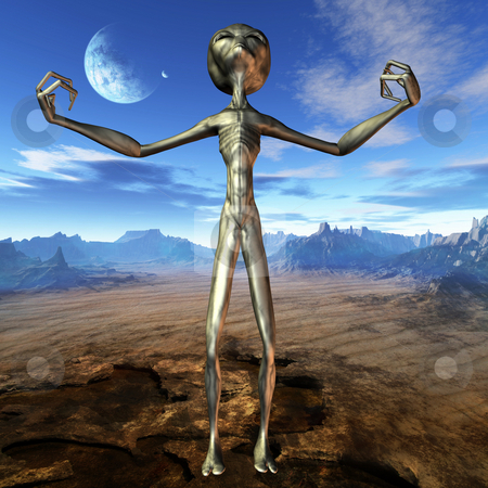 Alien stock photo, 3D Render of an Alien by Andreas Meyer
