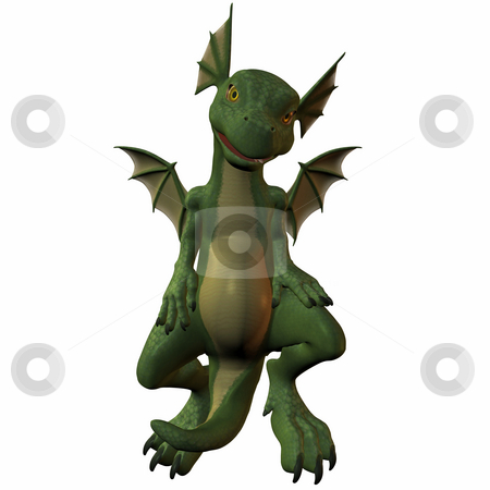 Hatchling Dragon stock photo, 3D Render of an Tonn Dragon by Andreas Meyer