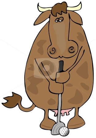 Cow Golf stock photo, This illustration depicts a cow golfing. by Dennis Cox