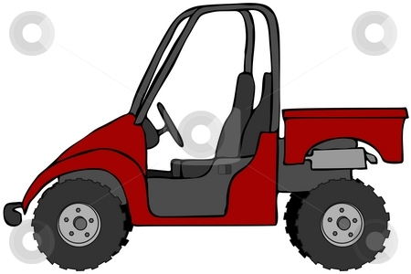 Red Side-By-Side stock photo, This illustration depicts a red UTV recreational vehicle. by Dennis Cox