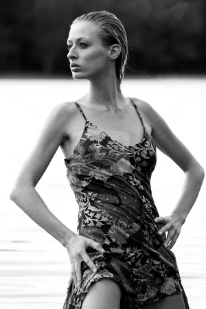 Fashion watergirl stock photo, Young blond woman wearing a dress in the forest by Frenk and Danielle Kaufmann