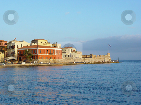 Hania kreta greece stock photo, Morning view of the venecian port hania kreta greece travel destinations by EVANGELOS THOMAIDIS