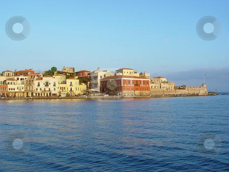 Hania kreta greece stock photo, Morning view of the old port of hania kreta greece travel destinations by EVANGELOS THOMAIDIS