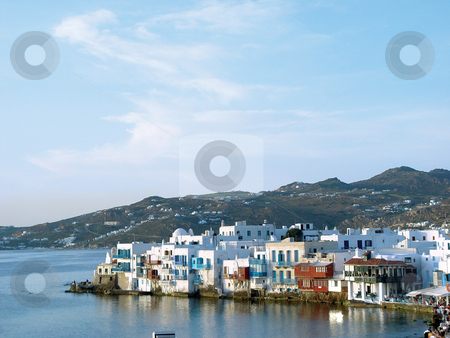 Mykonos little venice stock photo, View of little venice at mykonos island cyclades greece travel destinations by EVANGELOS THOMAIDIS