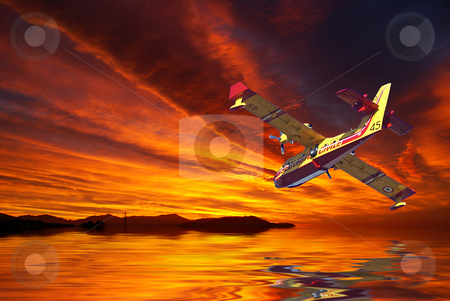 Firefighter stock photo, Firefighter before skimming a lake by Serge VILLA