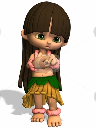 Toon Hula Girl stock photo, 3D Render of an Toon Figure by Andreas Meyer