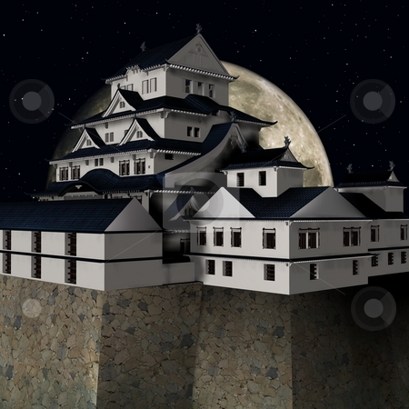 Himeji Castle stock photo, 3D Render of the Himeji Castle by Andreas Meyer