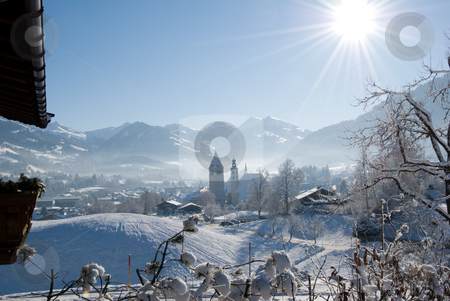 Morning Sun Over Kitzb??hel stock photo, A sunny morning in the famous Austrian skiing resort Kitzb??hel. by Peter Bruenner