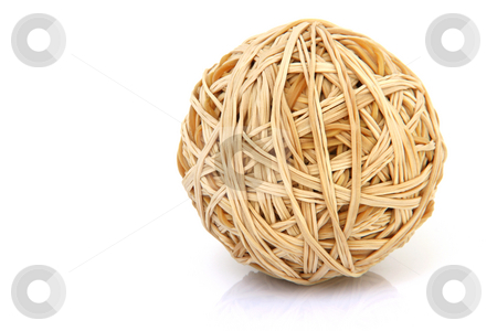 Rubber band ball stock photo, Ball made of rubber bands isolated on white background with small reflection by EVANGELOS THOMAIDIS