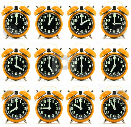 Twelve orange hours alarm clock stock photo, Classic small alarm clock twelve hours isolated on white background multiple image orarnge color by EVANGELOS THOMAIDIS