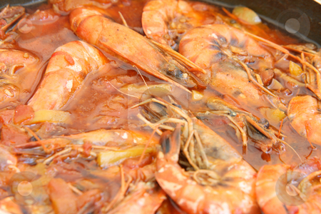 Shrimps in red stock photo, Shrimps cooked in tomatoe sause mediterranean cuisine by EVANGELOS THOMAIDIS