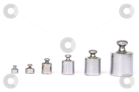 Measure weight units stock photo, Balance weight units in a row isolated on white background with copy space by EVANGELOS THOMAIDIS