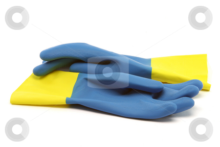 Plastic gloves stock photo, Palstic protection gloves isolated on white background industrial objects by EVANGELOS THOMAIDIS