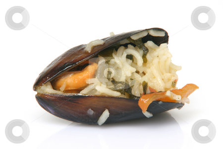 Mussel with rice closeup stock photo, Gourmet closeup mussels cooked with rice isolated on white background by EVANGELOS THOMAIDIS