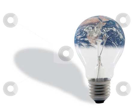 Bulb and earth stock photo, Bulb and earth with shadow isolated on white background with clipping path around the bulb energy and environmental concepts (image of earth is  from NASA library) by EVANGELOS THOMAIDIS