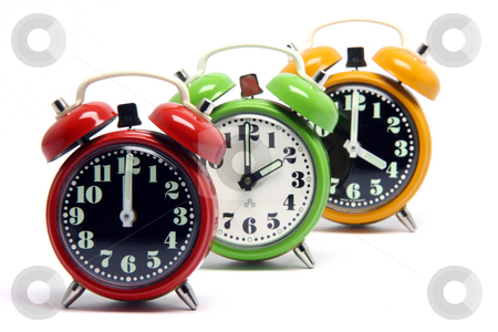Color clocks stock photo, Three classic small alarm clocks isolated on white background by EVANGELOS THOMAIDIS